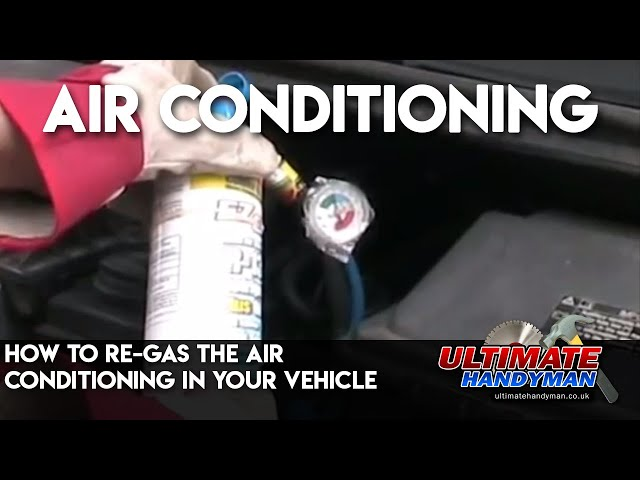 How to re-gas the air conditioning in your vehicle - YouTube