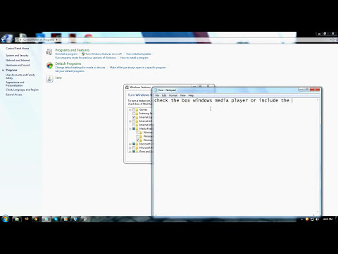 How to Enable Windows media player in windows 7 (media Features)