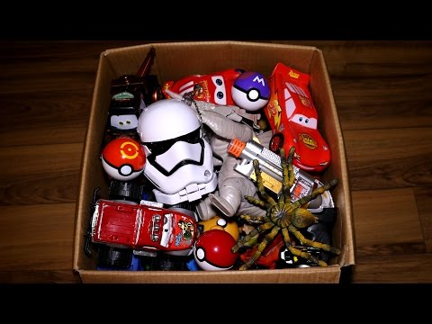 Box of Toys: Cars, Action Figures, Dinosaurs, Pokemon Go