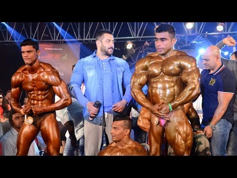 Salman Khan At Gym With Body Builders And Sergi Constance As Judge