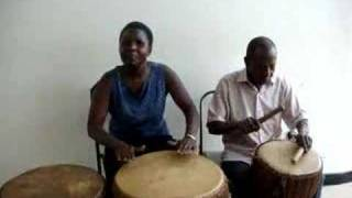 musicians play drums in Nat'l Museum of Uganda