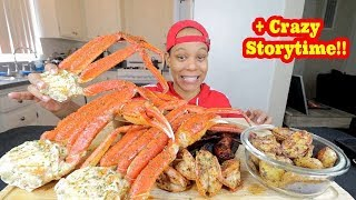 GIANT SNOW CRAB, SAUSAGE, SHRIMP BOIL MUKBANG!!