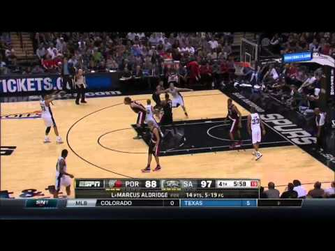 NBA, playoff 2014, Spurs vs. Trail Blazers, Round 2, Game 2, Move 40, Tim Duncan, assist