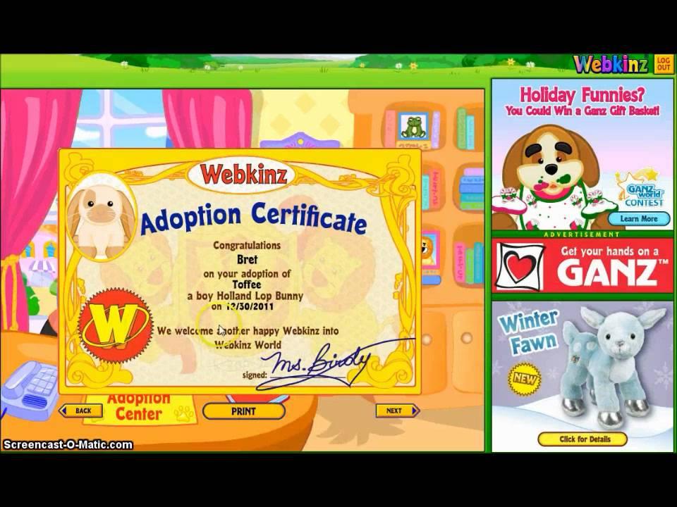 Adopting my Webkinz Holland Lop Bunny - YouTube