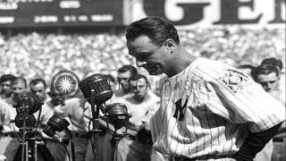 "Lou Gehrig and Babe Ruth address the crowd on ""Lou Gehrig Appreciation Day"" at Ya...HD Stock Footage"