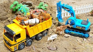 Excavator Dump Truck Construction Vehicle Rescue Animals Toys in The Storm with TOTOTV Car Toys
