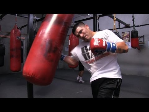 Manny Pacquiao vs. Brandon Rios-Rios heavy bag workout and shadow boxing Image 1