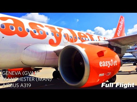 easyJet Airbus A319 Full Flight: Geneva to Manchester (With ATC)