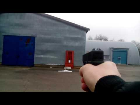 Shooting with airsoft Glock 19 green gas (from ~15-20metres)