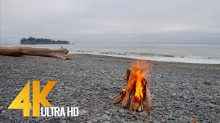 4 HOURS Campfire on Rialto Beach, Olympic National Park - 4K 10 bit Color Video