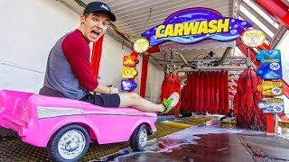 DRIVING TINY CAR THROUGH CAR WASH!!