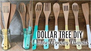 DOLLAR TREE DIY | FARMHOUSE OMBRE WOODEN UTENSILS