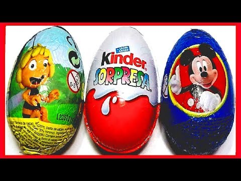 3 HUEVOS SORPRESA. ABEJA MAYA. MICKY MOUSE Y MAGIC KINDER COLECCIÓN 2013. KINDER SURPRISE EGG