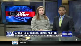 A Louisiana teacher arrested for speaking out at school board meeting