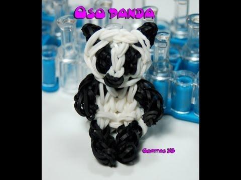 Oso panda con gomitas /Panda rainbow loom