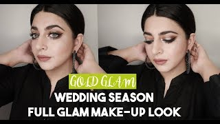 Weddings & Formal Events | Golden Glitter FULL GLAM Make-up Look |  GLOSSIPS