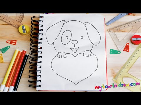 How to draw a Cute Puppy Love Heart - Easy step-by-step drawing lessons for kids