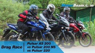 Pulsar AS 200 vs Pulsar 200 NS vs Pulsar 220 - Drag Race   MotorBeam