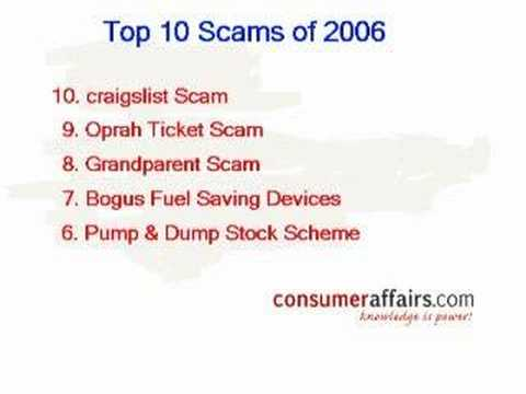 ConsumerAffairs.com - Top 10 Scams of 2006