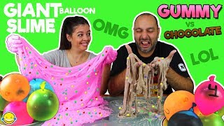 MAKING SLIME WITH GIANT BALLOONS! GUMMY Slime vs CHOCOLATE Slime!Tutorial SLIME gigante con globos