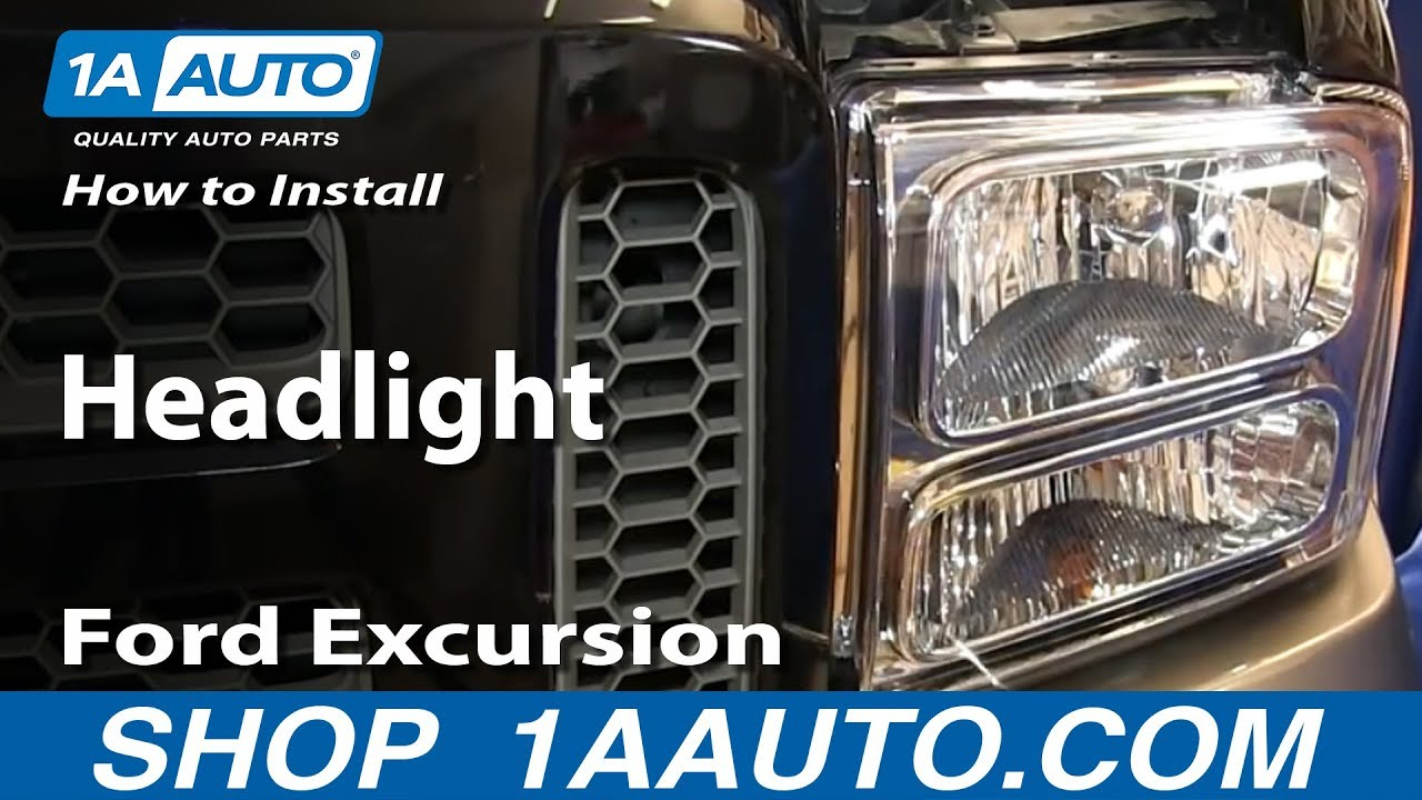 How To Install Replace Headlight 2005 Ford Excursion 05-07 F250 F350 F450