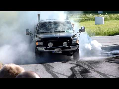 Dodge Ram blows a tire at a burnout contest