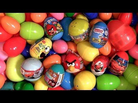 100 Super Surprise Eggs Angry Birds Holiday Edition Cars Thomas Dora Spongebob Moshi