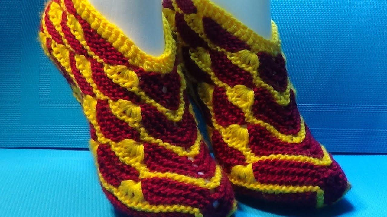 Вязание тапочек спицами домашние тапочки