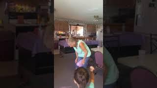Grandma's trying to pop balloon😆