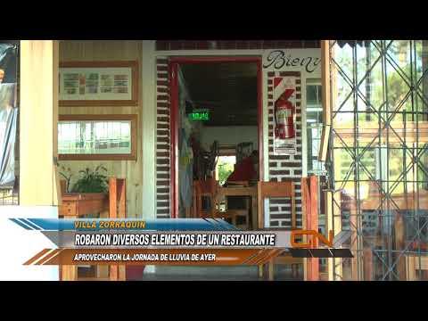 Inseguridad en Villa Zorraquín: Ladrones aprovecharon la Jornada de lluvia para robar un Restaurante