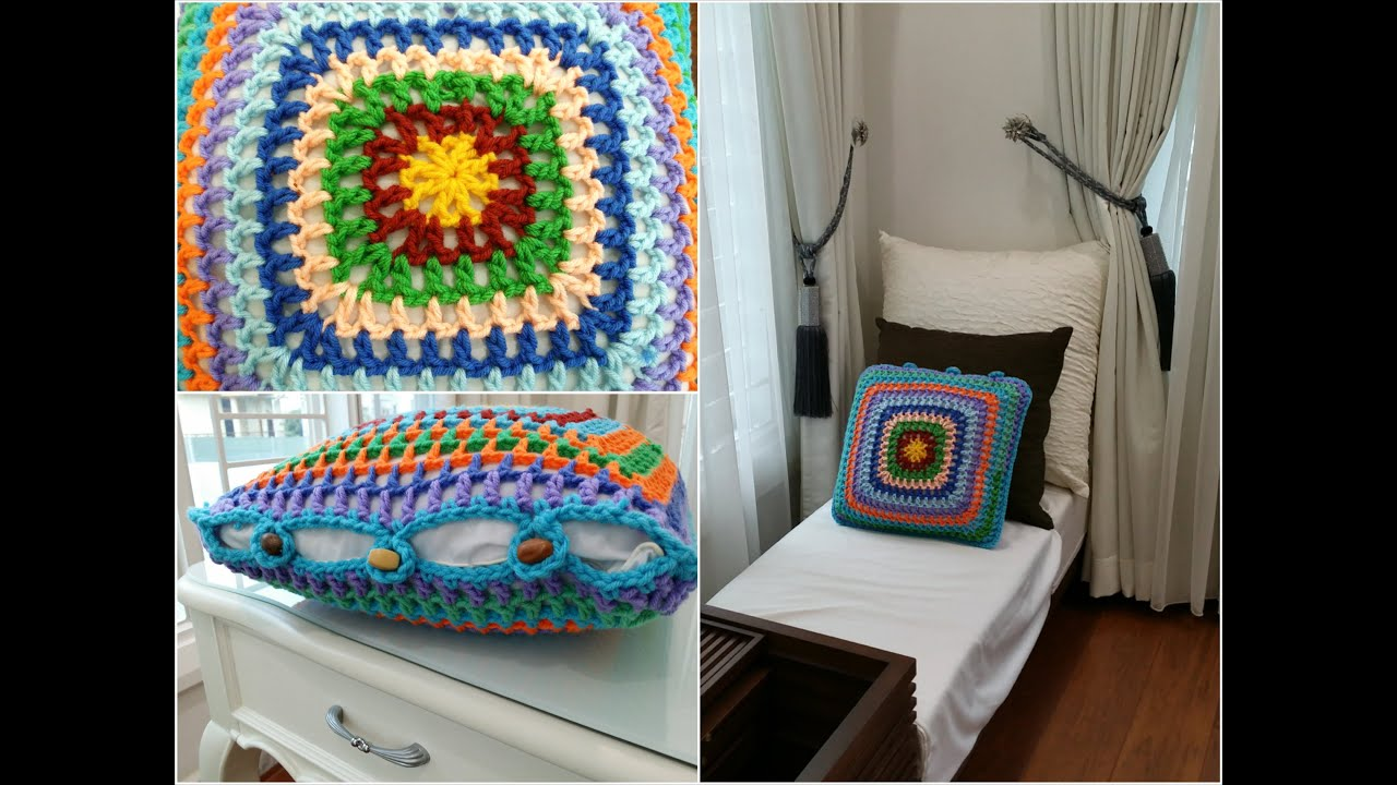Diy Crochet Throw Pillow : DIY Room Decoration / Crochet Granny Square Cushion Cover (Home Decoration) - YouTube