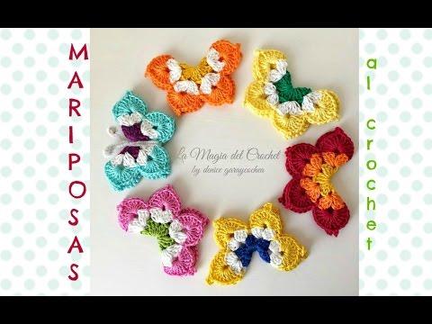 Mariposas a Crochet - YouTube