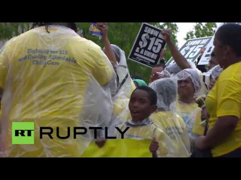 USA: McDonald's HQ closed as protesters demand wage increase