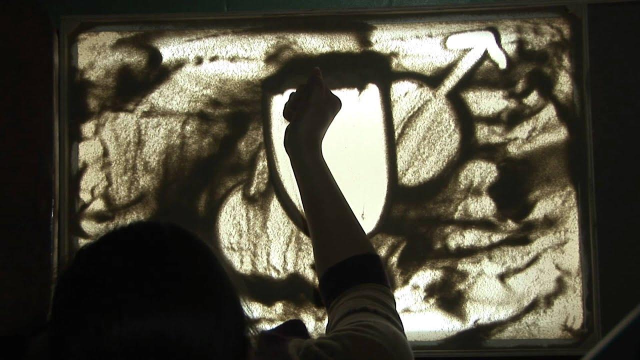 рисунки песком на стекле: