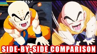 DRAGON BALL FighterZ - Krillin Side by Side Comparison Game and Anime - XB1 PS4 PC