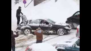 Meanwhile in Romania- Cunning Driver Gets Out of Snow Using Human Magic Body Control