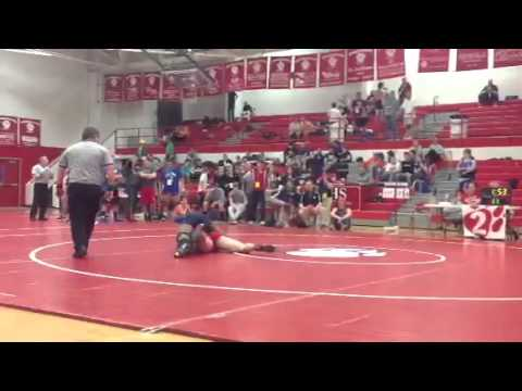 East Surry Cody Gaskill wrestles against Mount Airy High School