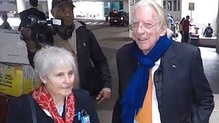Movie Icon Donald Sutherland And Wife Francine At LAX