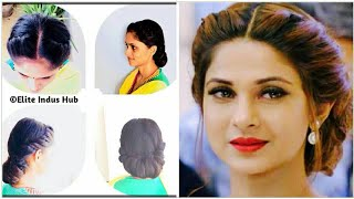 Twist and Roll Updo | Jennifer winget hairstyle Tutorial | Curly / Frizzy Hair Prom Updo Hairstyle