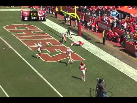Tony Moeaki's one handed touchdown catch against the San Francisco 49ers Sept. 26th, 2010. Commentators talking comparing Moeaki to Tony Gonzalez is great. N...