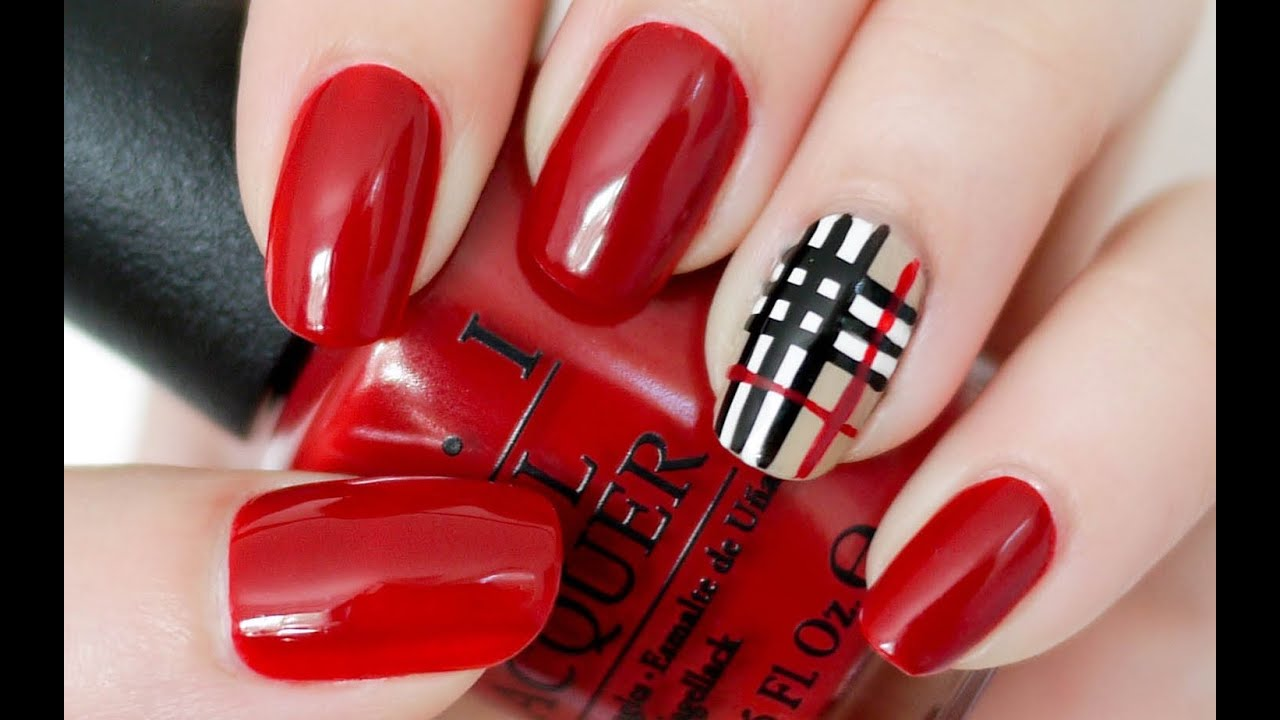 burberry plaid inspired nails youtube. Black Bedroom Furniture Sets. Home Design Ideas