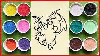 Đồ chơi trẻ em TÔ MÀU TRANH CÁT PIKACHU - Learn Colors Sand Painting Toys Pikachu (Chim Xinh)