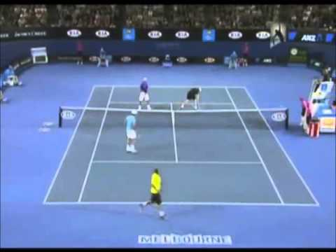 The comedy tennis match ( andy roddick - roger federer - rafael nadal - novak djokovic ) - part 1