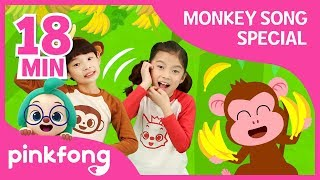 Five Little Monkeys and more | Fun Monkey Songs | +Compilation | Pinkfong Songs for Children