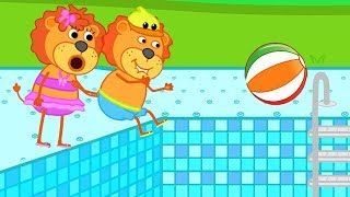 Lion Family in Rainbow Waterpool Cartoon For Kids