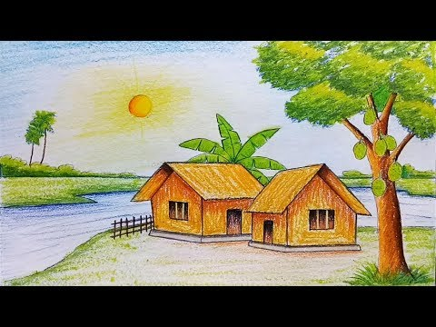 How to draw scenery of summer season step by step (very easy)