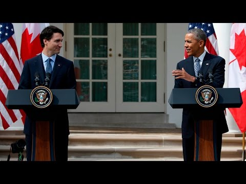 Justin Trudeau & Barack Obama White House  Rose Garden media conference, March 10, 2016