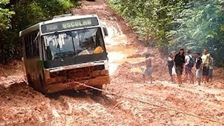 Amazing Bus Driving Skills | Extreme Bus Off Roads in Mudding   Roads - Bus Stuck In Mud