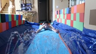 CRAZY INDOOR SLIP N SLIDE!! (FLOODED OUR HOUSE) | FaZe Rug