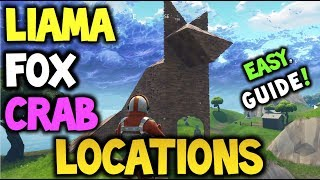 FORTNITE - Llama, Fox and Crab Locations! - EASY GUIDE! - CHALLENGE, Visit a ... (Battle Royale)